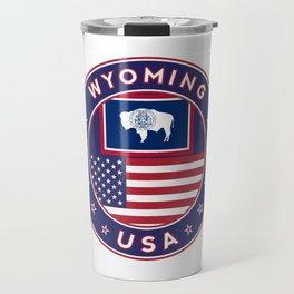 Wyoming, USA States, Wyoming t-shirt, Wyoming sticker, circle Travel Mug