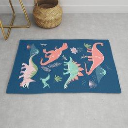 Jurassic Dinosaurs on Blue Rug