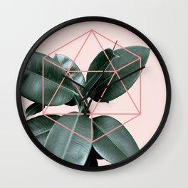 Geometric greenery III Wall Clock