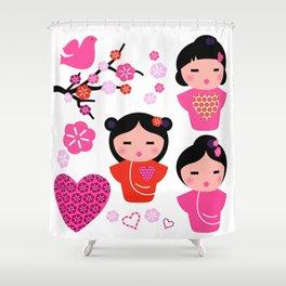 Little love Geishas, love design elements Shower Curtain