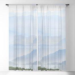 Great Smoky Mountain National Park Sunset Layers II - Nature Photography Sheer Curtain
