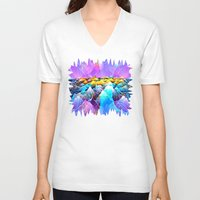data V-neck T-shirts featuring Data Sea by NatalieCatLee