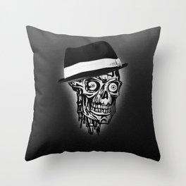 Elegant Skull with hat, B&W Throw Pillow