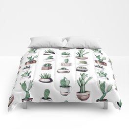 Cactus + Succulents Rose Gold Pattern by Nature Magick Comforters
