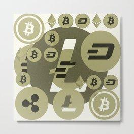 Ethereum, Bitcoin, Dash, Ripple, Litcoin pattern Metal Print