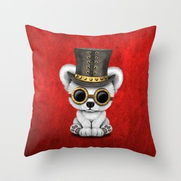 Steampunk Baby Polar Bear Throw Pillow