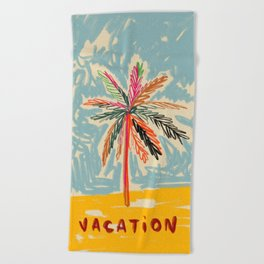 VACATION PALM TREE Beach Towel