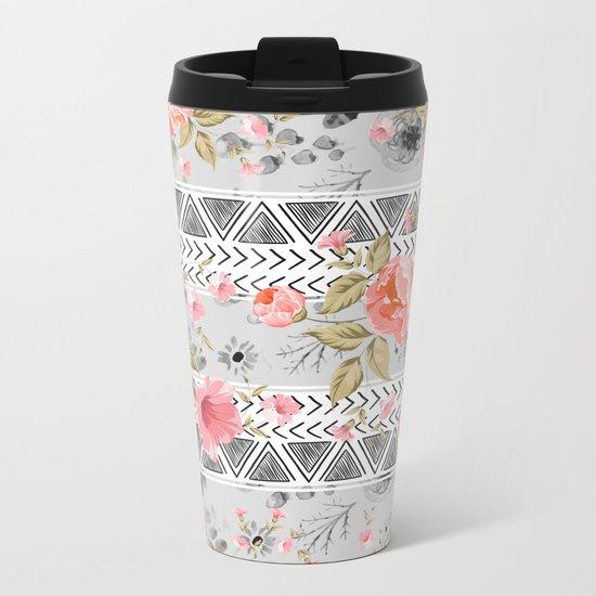 Pattern flowers with triangular shapes Metal Travel Mug