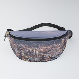 Portland Evening Urban Cityscape With Mt Hood Fanny Pack