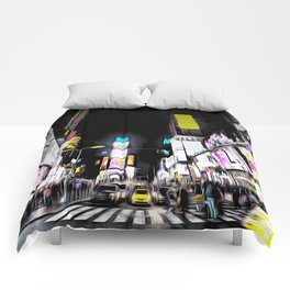 Times Square New York Art Comforters