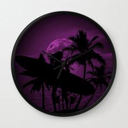 Purple Dusk with Surfergirl in Black Silhouette with Longboard Wall Clock