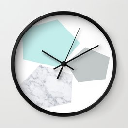 Geo marble and turquoise Wall Clock