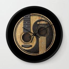 Aged Vintage Acoustic Guitars Yin Yang Wall Clock