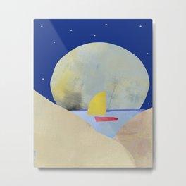 Large Full Moon Stars at Night and Sailboat Metal Print