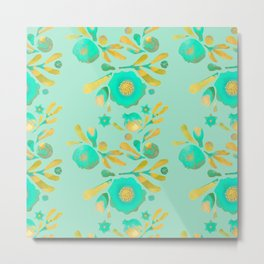 Granada Floral in Aqua on aqua Metal Print
