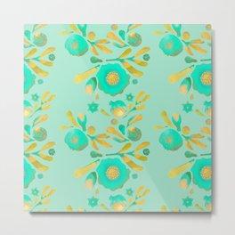 Granada Floral in Aqua on aqua Metal Print