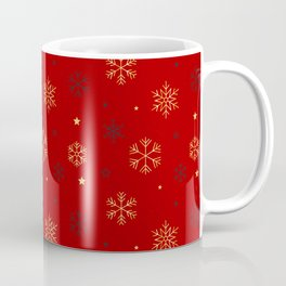 Red background with black and gold snowflake xmas pattern Coffee Mug