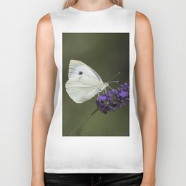 Cabbage butterfly feeding on lavender Biker Tank