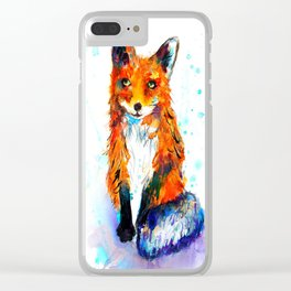 Little Fox in the Snow Clear iPhone Case