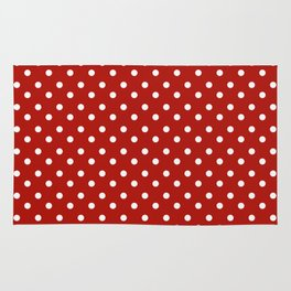 White & Red Navy Polkadot Pattern Rug