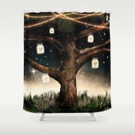 Rustic Mason Jar Tree Shower Curtain