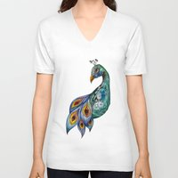 peacock V-neck T-shirts featuring Peacock by SilviaGancheva