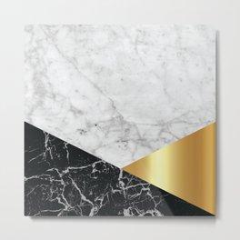 Geometric White Marble - Black Granite & Gold #944 Metal Print