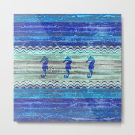 Rustic Navy Blue Coastal Decor Seahorses Metal Print