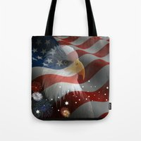 patriots Tote Bags featuring Patriotic America by Barrier Style & Design