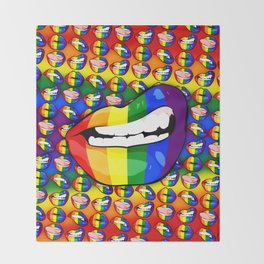 LGBTQ Rainbow Lips Snarl Throw Blanket