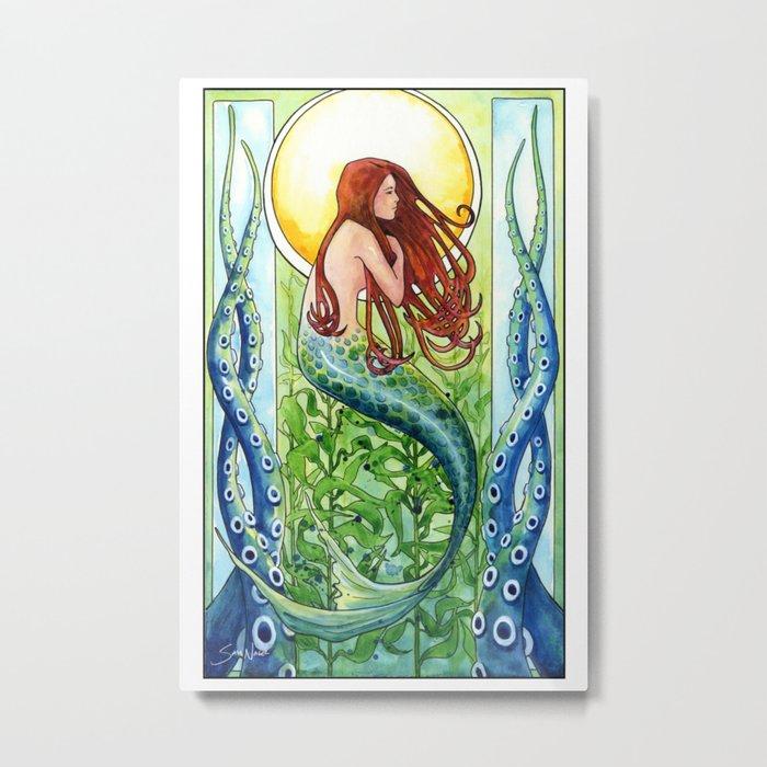Kelp Forest Mermaid Metal Print