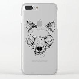 Cat Skull Illustration Clear iPhone Case