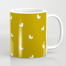 White birds in mustard orange Coffee Mug