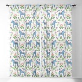 Swedsh Dala Horses Blue Sheer Curtain