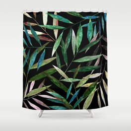 Bamboo Leaves at Night Shower Curtain