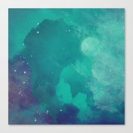 Watercolor night sky Canvas Print