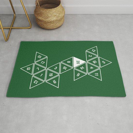 Green Unrolled D20 by clarkstreetpress