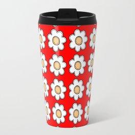 Retro Doodle Mini Flower - Red and White Travel Mug
