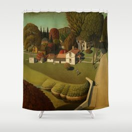 Birthplace of Herbert Hoover, West Branch, Iowa by Grant Wood Shower Curtain