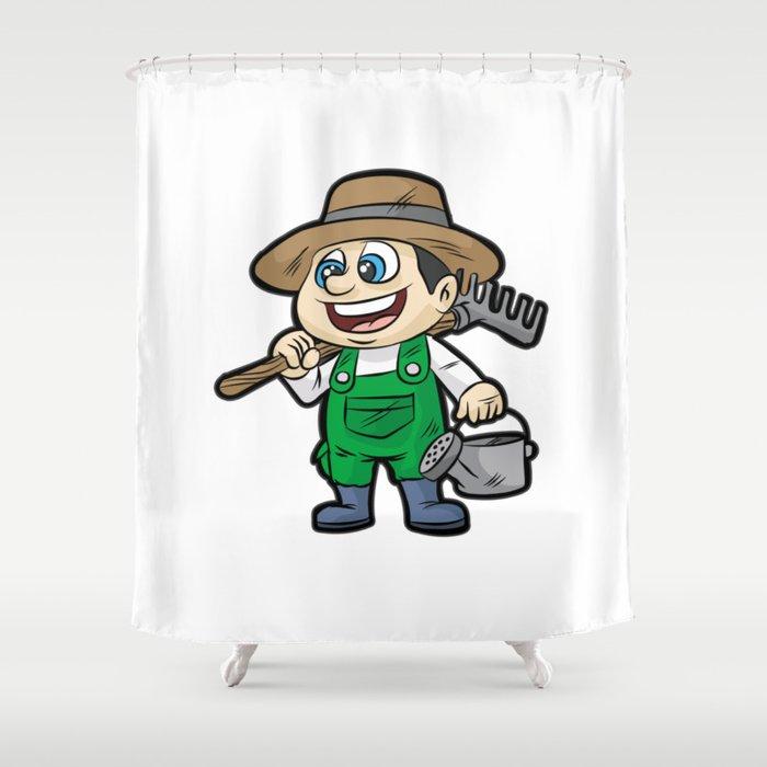 Happy Gardener With Tools Gardening Cartoon Gift Shower Curtain By Moonpie90 Society6