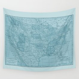 Vintage America in Blue Wall Tapestry