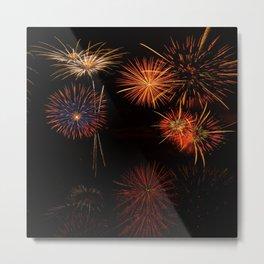 Fireworks Reflection In Water Panorama Metal Print