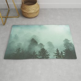Magnificent Morning - Foggy Redwood Forest Nature Photography Rug
