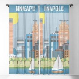 Minneapolis, Minnesota - Skyline Illustration by Loose Petals Sheer Curtain