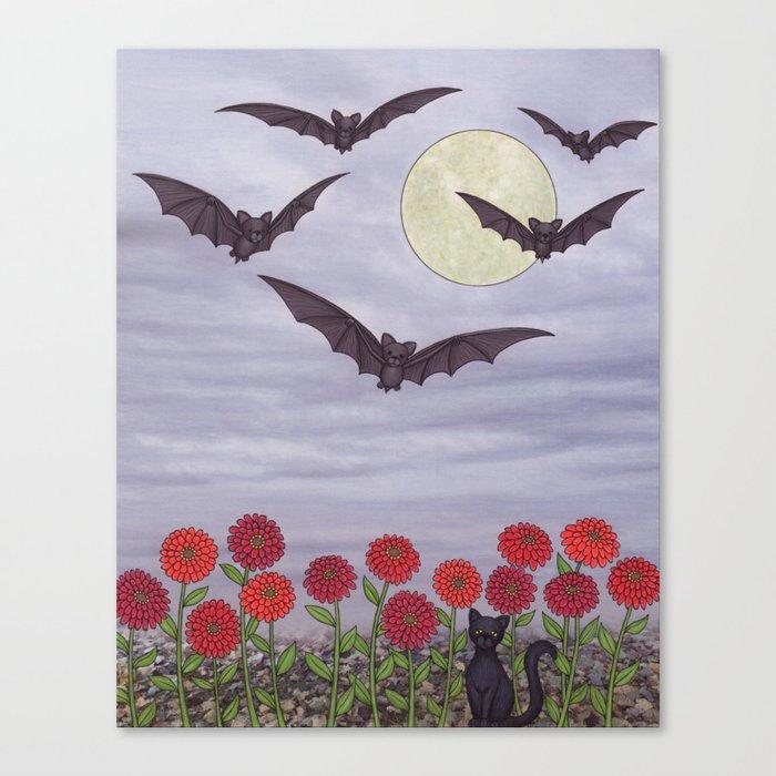 bats, zinnias, and black cat Canvas Print