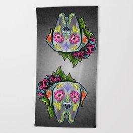 Mastiff in Grey - Day of the Dead Sugar Skull Dog Beach Towel