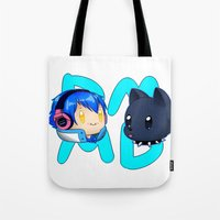 dmmd Tote Bags featuring DMMD- chibi Aoba and Ren by prpldragon