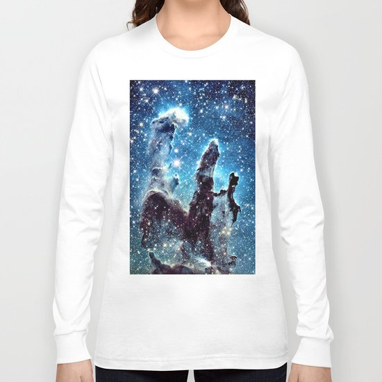Pillars of Creation Nebula: Ocean Blue Galaxy Long Sleeve T-shirt