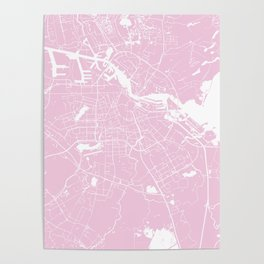Amsterdam Pink on White Street Map Poster