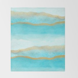 Gold and blue sea Throw Blanket